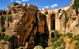 Preview wallpaper Ronda, Andalusia, Spain, mountains, rocks, houses, bridge, arch, canyon