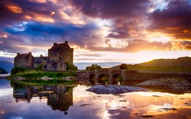 Scotland, castle, water reflection, sky, clouds, river, bridge