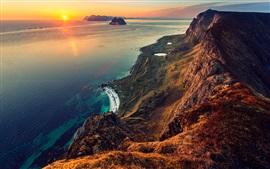 Mar, cielo, nubes, puesta del sol, montañas