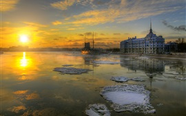 Preview wallpaper St. Petersburg, winter, snow, boat, buildings, sunrise