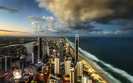 Surfers Paradise, Gold Coast, Austrália, cidade, arranha-céus, oceano