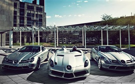 Preview wallpaper Three sports cars, Mercedes-Benz cars