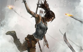 Preview wallpaper Tomb Raider, Lara Croft, blood, fire, artwork