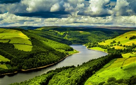 Preview wallpaper UK, river, fields, forest, clouds, nature scenery