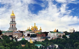 Ukraine, temple, monastery, city, sky, clouds