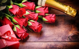 Preview wallpaper Valentine's Day, romantic, rose, champagne