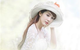 White dress asian girl, hat