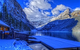Preview wallpaper Winter, Banff National Park, Alberta, Canada, lake, snow, house