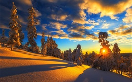 Preview wallpaper Winter, mountain, snow, trees, sky, clouds, sunset