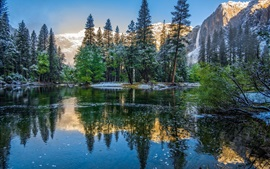 Preview wallpaper Winter, mountains, trees, lake, Yosemite National Park, USA, California