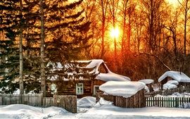 Preview wallpaper Winter, trees, house, sunrise, snow