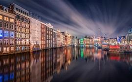 Амстердам, ночь, дома, фонари, река, вода отражение