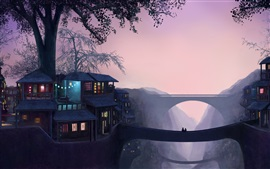 Art painting, dusk, house, trees, light, bridge