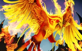 Art pictures, golden phoenix, bird, fire, wings
