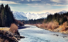 Autumn, mountains, forest, river, trees, snow