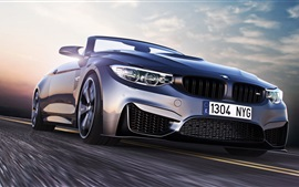 Preview wallpaper BMW M4 sport car front view, speed, road