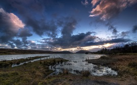 Preview wallpaper Barnesmore Gap, Lough Mourne, lake, Ireland, evening, dusk