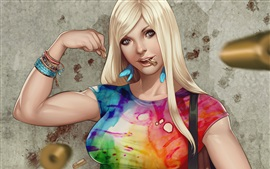 Preview wallpaper Blonde girl, colorful clothes, fantasy