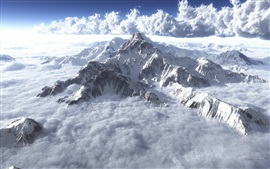 Preview wallpaper Clouds, mountains, sky, fog, snow, winter
