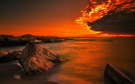 Coast, ocean, sunrise, rocks, beach
