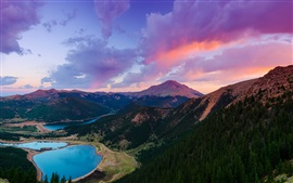 Preview wallpaper Colorado, USA, mountain, Pikes Peak, lake, forest, sunset