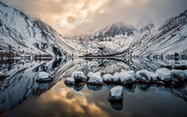 Preview wallpaper Convict Lake, Mount Morrison, California, USA, mountains, rocks, winter