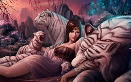Preview wallpaper Fantasy girl, white tiger, art works