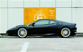 Ferrari F430 supercar preto vista lateral