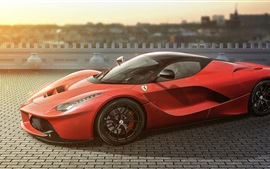 Preview wallpaper Ferrari LaFerrari red supercar side view, road