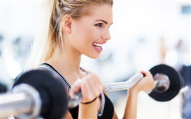 Preview wallpaper Fitness exercises, blonde girl, smile