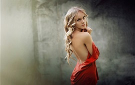 Preview wallpaper Girl portrait, red dress, look back
