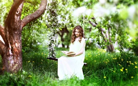 Preview wallpaper Grass, tree, spring, white dress girl read book