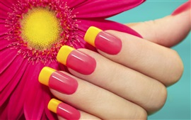 Hand, manicure, nails, red flower