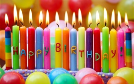 Happy Birthday, colorful candles, balloons