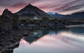 Preview wallpaper Iceland, village, house, mountain, lake, evening, sunset