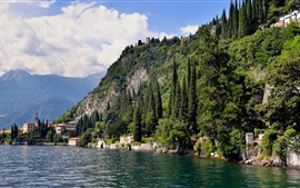 Preview wallpaper Italy, Como, lake, mountains, trees, houses