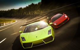 Preview wallpaper Lamborghini Gallardo green, Ferrari 458 red supercar