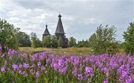 Preview wallpaper Leningrad region, temple, Church, Russia, flowers, grass