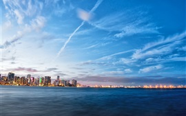 Miami, Florida, USA, sea, evening, lights, city