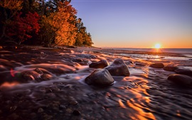 Preview wallpaper Michigan, USA, sunset, sea, coast, stones, autumn
