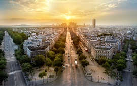 Preview wallpaper Paris, France, city panorama, evening, sunset, houses, roads, cars