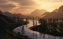 Rio, manhã, névoa, árvores, nascer do sol