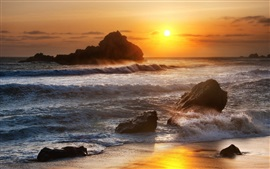 Preview wallpaper Sea, stones, waves, sunrise, dawn