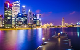 Preview wallpaper Singapore, Asia city, night, dock, skyscrapers, lights