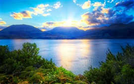 Sunrise, mountains, lake, trees, clouds