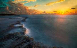 Pôr do sol, mar, costa, céu, nuvens