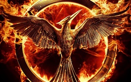 Preview wallpaper The Hunger Games: Mockingjay, Part 1, bird, fire