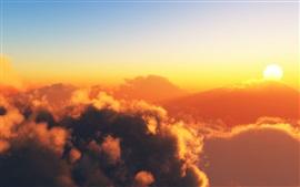 Quente céu, nuvens, sol, pôr do sol