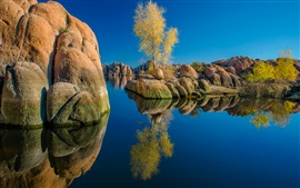 Watson Lake, Arizona, USA, stones, trees, water reflection