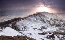 Winter, mountain, snow, sky, clouds, sun, England